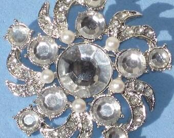 JeWeL RHINESTONE Pearl Retro Brooch Silver MeTaL FLOWER