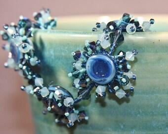 Bracelet: Ocean Spray - Blue Glass and Crystal