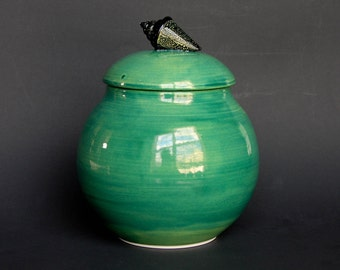 Ceramic Jar with Glass Shell in Green