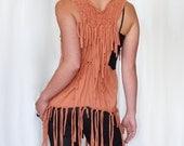 Tribal festival top - oversized fringe tunic dress - terra braided woven - bohemian hippie native pocahontas party - S/M/L - US 4/6/8/10