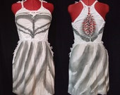 Striped dress hand dyed  - White Gray eco braided / woven - Bohemian Hippie Tribal Steampunk Avant garde Festival - S M