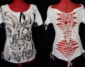 Wide shirt white black - summer party top - Hand drawn art drawing- Woven braided open back - Boho tribal festival hippie punk - S M L