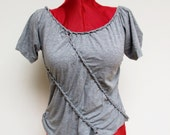Gray braided shirt top - upcycled baggy loose festival party top - woven - bohemian boho tribal hippie - Small Medium - US 6 8 10
