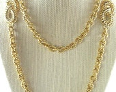 Heavy Gold Tone Chain Vintage Necklace Opera Length with Decorative Links