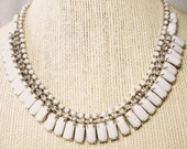 Kramer of New York Necklace Vintage Retro Milk Glass & Rhinestone Choker Bridal Wedding Jewelry