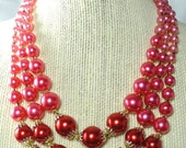 1960's 3 Strand Necklace & Earrings Set Vintage Japan Hot Pink and Red Bead Demi Parure