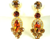 Vintage 1940's Eisenberg Rhinestone Drop Earrings Gold Plated Signed Clip On Dangle