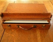 Artist Pochade Vintage Very Old Canvas Carrier Field Box with Leather Handle