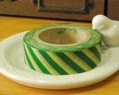 Japanese Washi Masking Tape - Yellow and Green Diagonal Stripes - 16 Yards