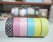 Japanese Washi Masking Tape Set - Argyle Pattern Design - 6 rolls in different colors - 11 Yards (each roll)
