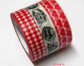 Japanese Washi Masking Tape Set - Postmark Series - 3 rolls - 11 Yards
