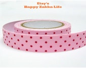 Fabric Sticker Tape - Red Dot with Deep Pink - 5.5 Yards