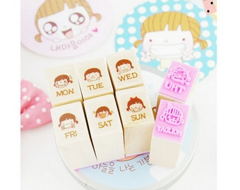 Wooden Rubber Stamp Set - Schedule Week Days - Little Girl's Expression - 8 Pcs