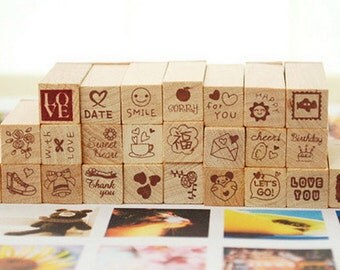 Wooden Rubber Stamp Set - Love Diary Stamp Set - 25 Pcs