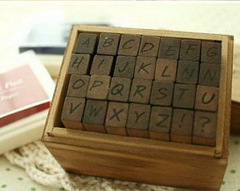 On Sale - Wooden Rubber Stamp Box - Alphabet Stamps - Handwriting Style - Capital Letters - 28 pcs