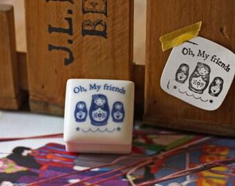 Ceramics Rubber Stamp Set - Matryoshka doll - 1 Stamp and 1 Ink Pad