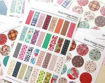 Paper Deco Sticker Set - Fabric Print Design - 6 Sheets