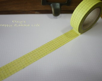 On Sale - Japanese Washi Masking Tape - Green Yellow Line Check - 11 Yards