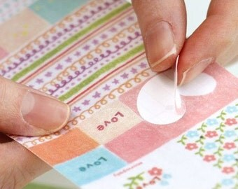 Die Cut Fabric Sticker Set - Label and Ribbon - 2 Sheets