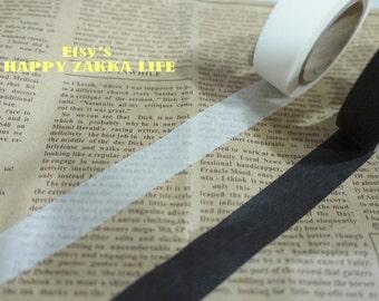 Japanese Washi Masking Tape Set - Black and White - 2 rolls - 11 Yards (each roll)