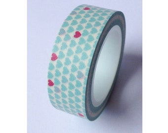 Light Blue and Red Hearts -  Japanese Washi Masking Tape - 11 yards