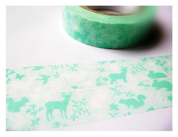 Japanese Washi Masking Tape - Animals in the Forest - Aqua Green  - 6.5 Yards