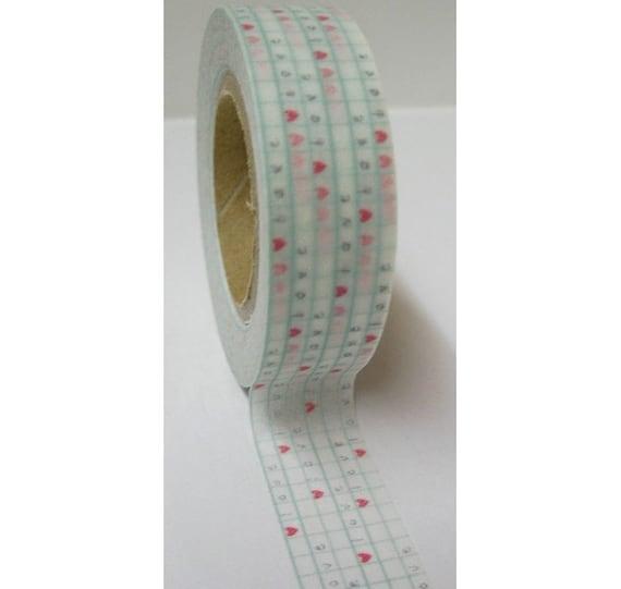 Japanese Washi Masking Tape - Aqua Blue Line Grid with LOVE - 11 Yards