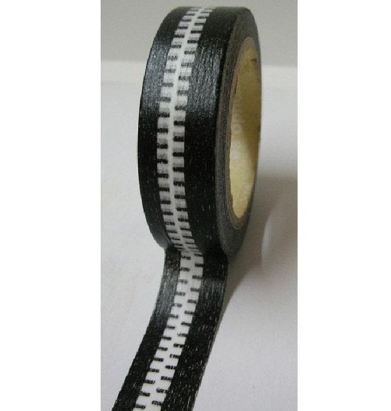 Japanese Washi Masking Tape - Limited Edition - Black Zip - 11 Yards