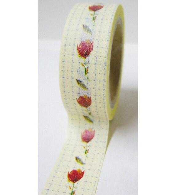 Japanese Washi Masking Tape - Red Rose - 5.5 Yards