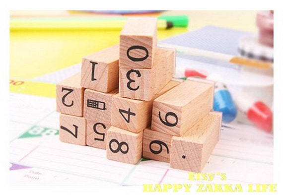 Wooden Rubber Stamp Set - Mini Diary Stamp Set - Number -  12 Pcs