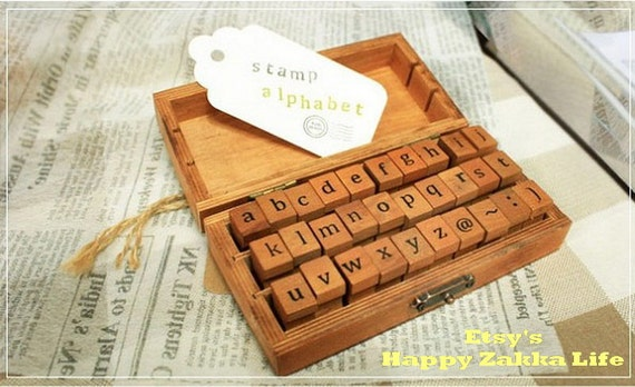 Wooden Rubber Stamp Box - Alphabet Stamps - Print Style - Lower Case Letters - 30 pcs