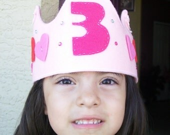 HAPPY BIRTHDAY CROWN/ Felt crown/Number or letter/ Perfect pink crown for girl/pretend/photo prom