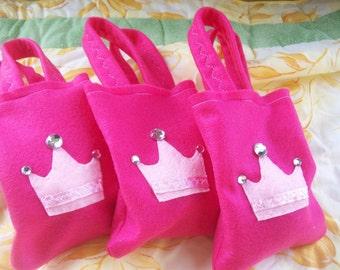 LITTLE PRINCESS PARTY/ Felt party bags/ Set of 6 Party favor/ candies bag/ party supplies