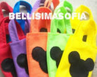 MICKEY MOUSE PARTY/ Felt party bags/ set of 10 party favor/ mickey mouse supplies/multicolors