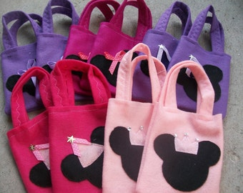 MINNIE MOUSE PARTY/ felt party bags/ set 5 bags/ party favor/ mickey mouse supplies