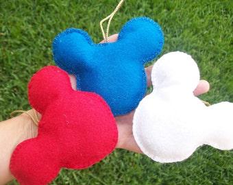 MICKEY MOUSE/ felt ornament/patriotic /set of 3