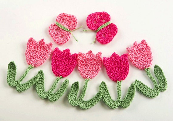Crochet Pattern Tulip Flowers and Butterflies PDF Instant Download