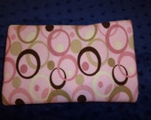 Large cotton baby blanket 31x29 Pink, Green and Brown