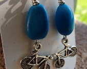 clearance/Turquoise Nuggets and Silver Bike Earrings
