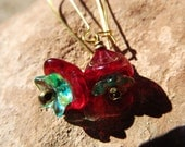 RESERVED/Ruby Red and Teal Bell Flower Earrings