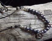 Soft Blue Fresh Water Pearl Necklace with Three Antiqued Silver Flowers
