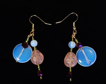 Opalite and Lady Bug Earrings
