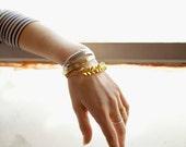 Leather & Brass Hex Bracelet