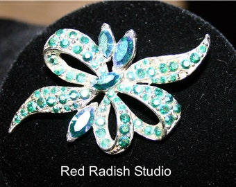 Vintage Blue Opalescent Diamonte Bow  Brooch