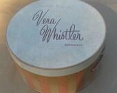 Vera Whistler Originals Early 1960's Vintage Round Hat Box