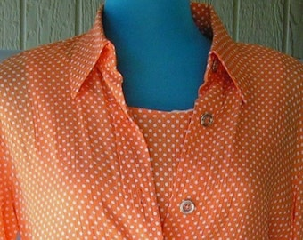 Rabbit Orange Poka Dot Dress and Jacket size 8