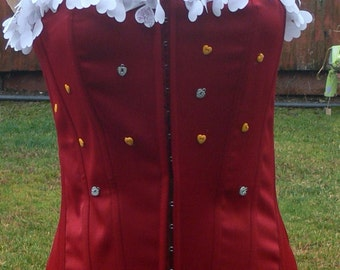 Red heart boned corset size large