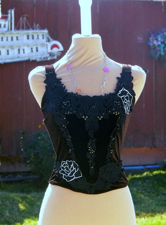 brown velet boned corset top size  m  bust 34-36