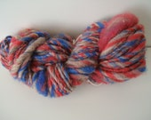 "Handspun Yarn Mini Skein ""Independence"" Thick & Thin 21 yds"