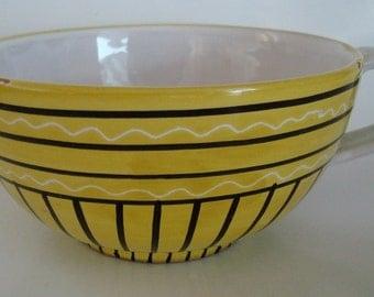 Vintage Italian Latte Bowl With Geometric Design
